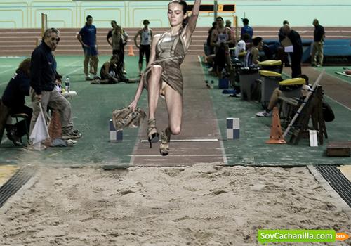 Modelos en el salto de arena deportista