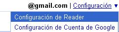 Configuracion de reader en Google Reader