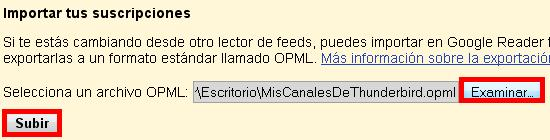 Subir archivo OPML a google reader