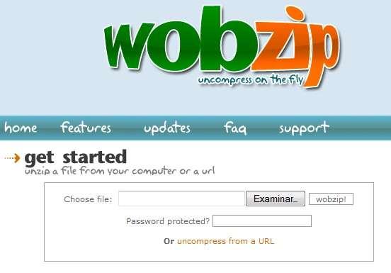 wozip descomprimir archivos online