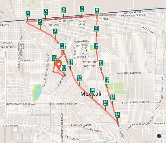 ruta del 33 medio maraton de mexicali